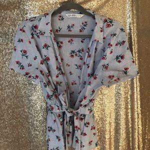 Zara Basic Floral Wrap Top